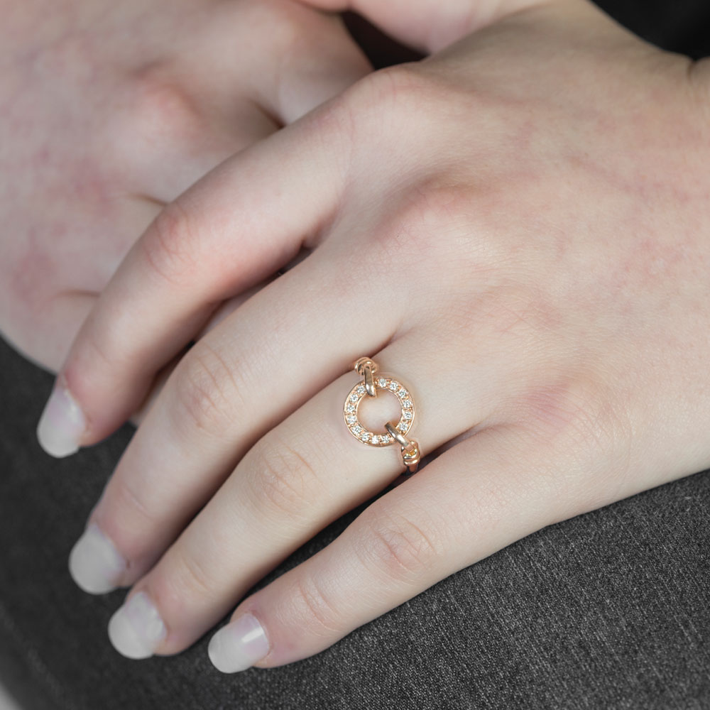 Rose gold diamond Meridian ring