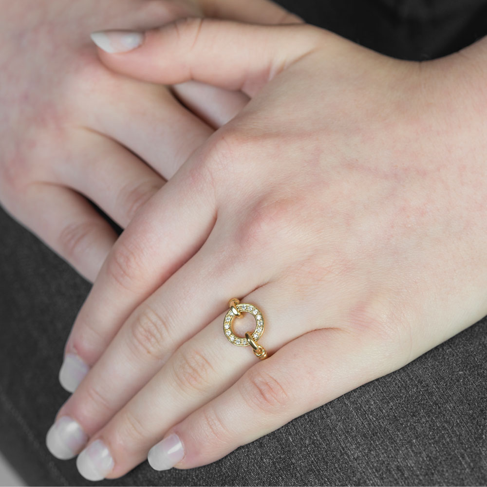 Yellow gold diamond Meridian ring