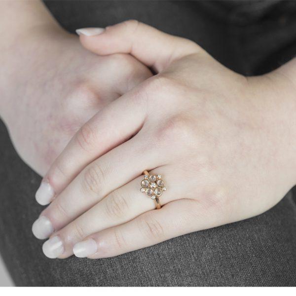 Rose gold diamond moonstone cluster ring