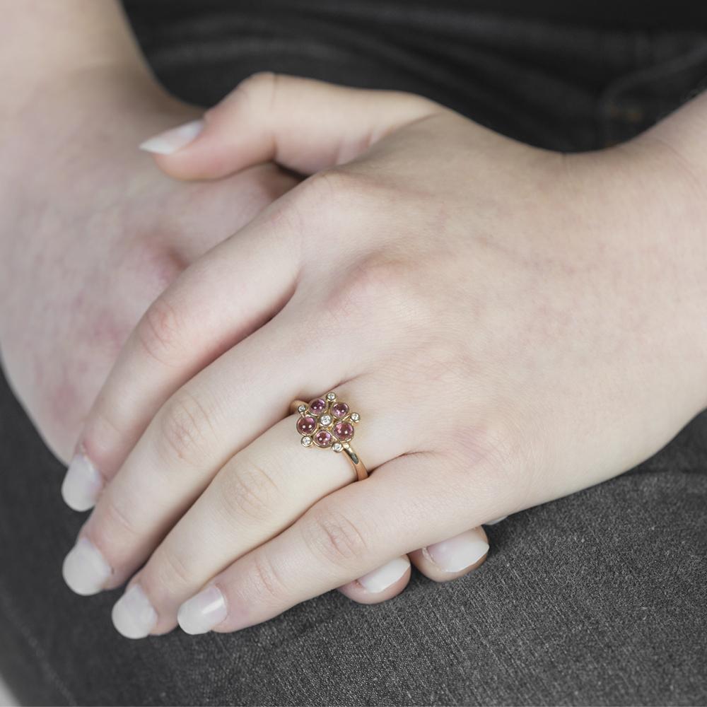 Rose gold diamond pink tourmaline cluster ring