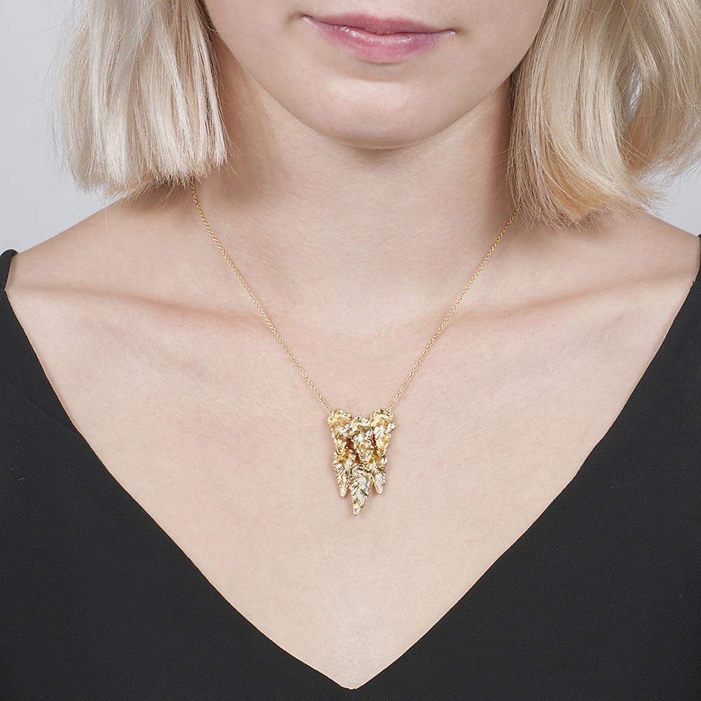 Yellow gold layered leaf necklace pendant