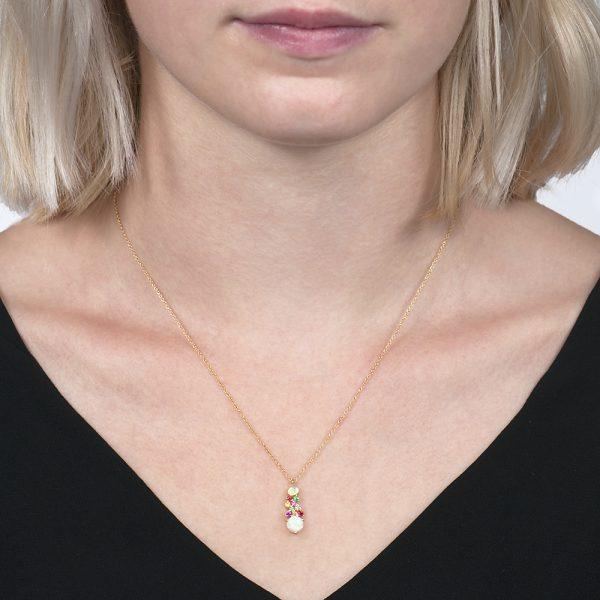 Yellow gold diamond multi gem harlequin pendant