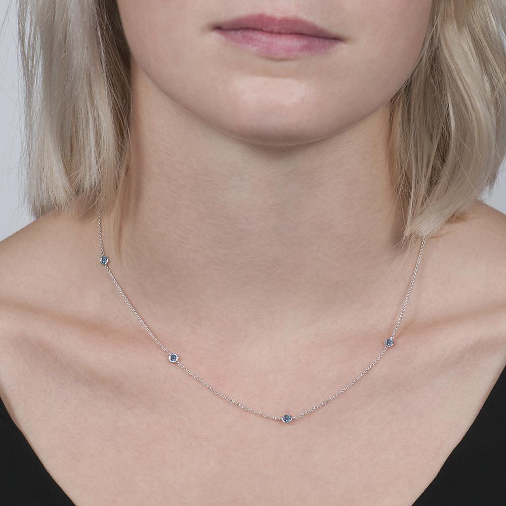 White gold aquamarine raindrop necklace