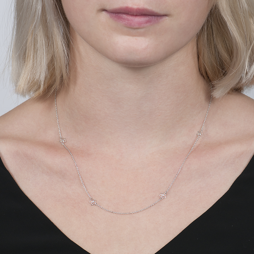 White gold buttercup chain necklace