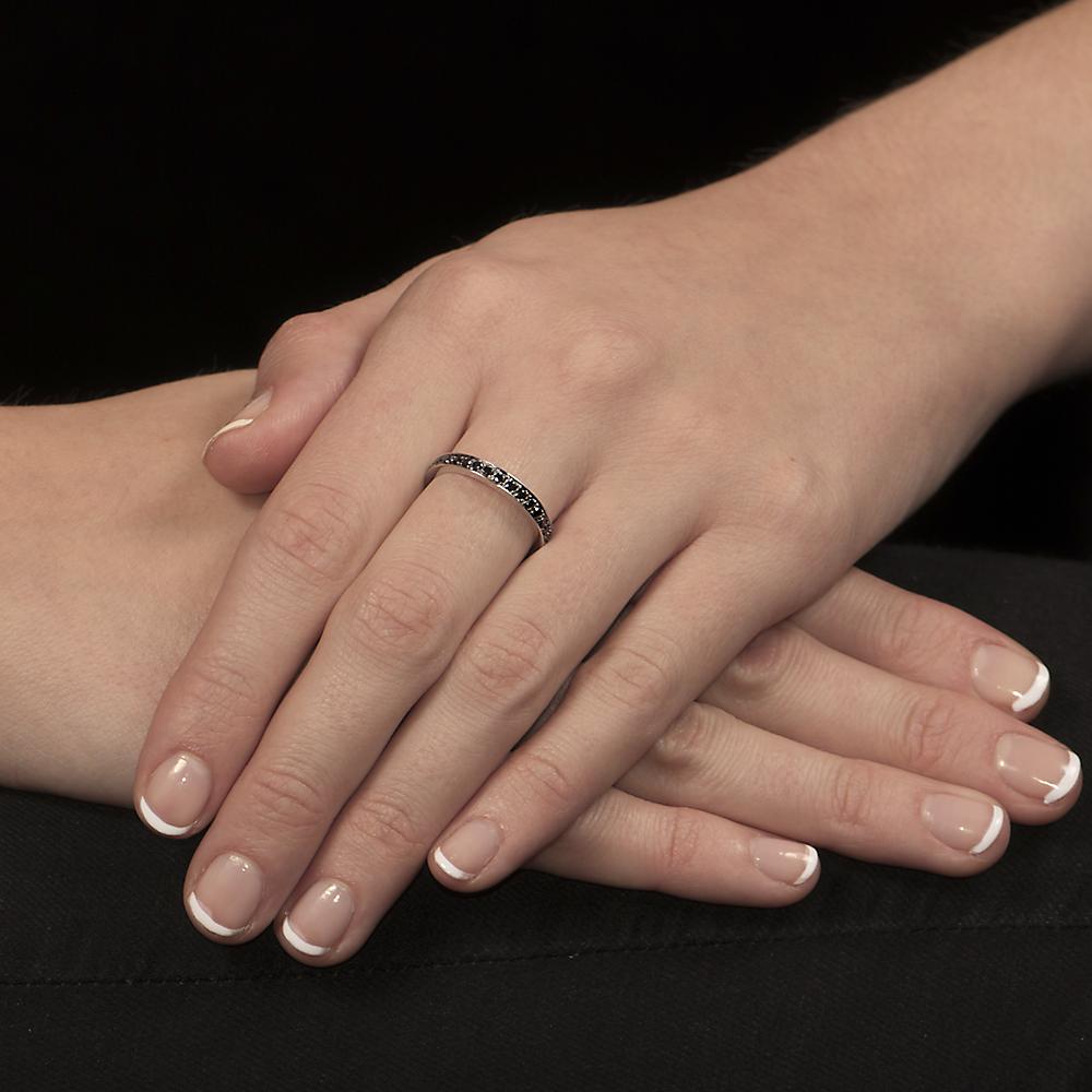 White gold black diamond stack ring