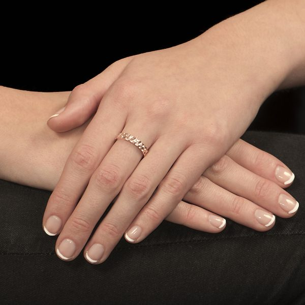 Rose gold hammered stack ring
