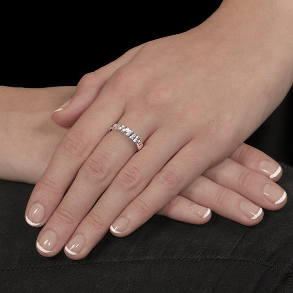 White gold hammered stack ring