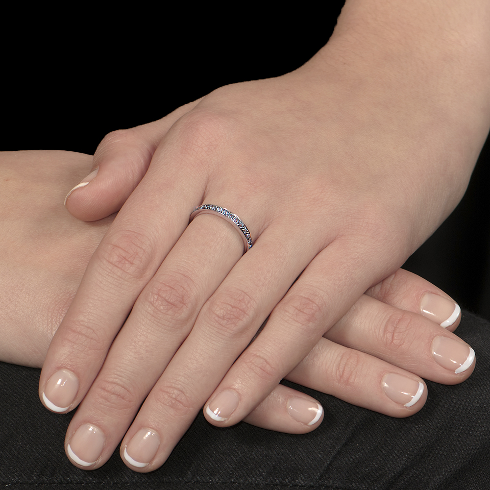 White gold blue topaz stack ring