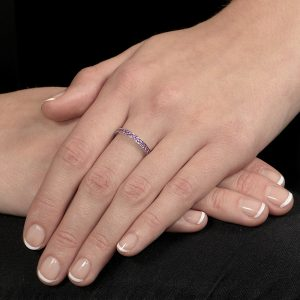 White gold amethyst stack ring