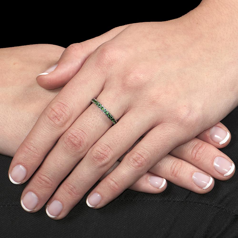 White gold tsavorite garnet stack ring