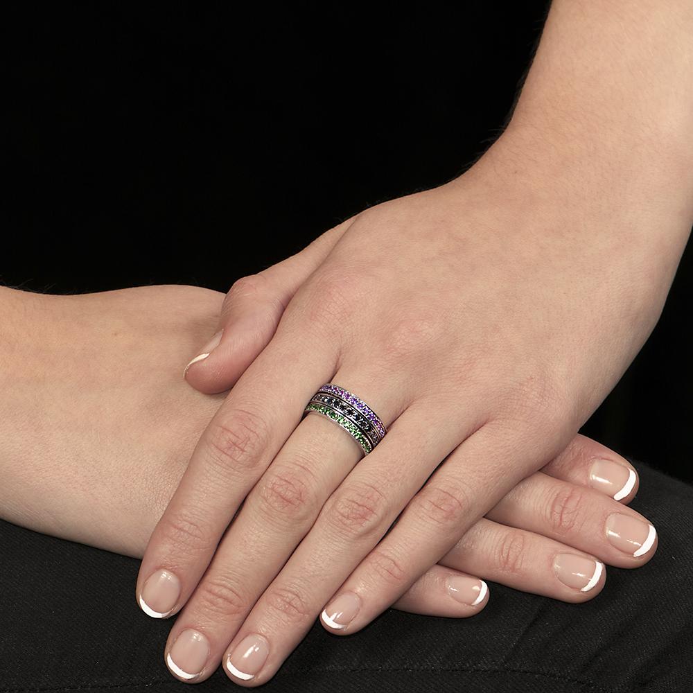 White gold tsavorite garnet, amethyst, black diamond stack rings
