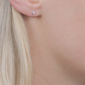White gold diamond stud Raindrop earrings