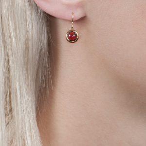 Rose gold garnet drop Bubble earrings