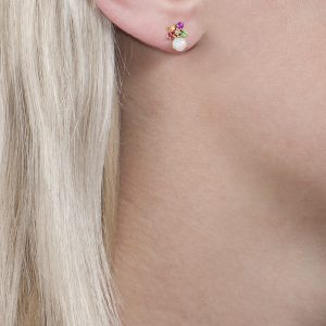 Yellow gold multi gem harlequin stud earrings