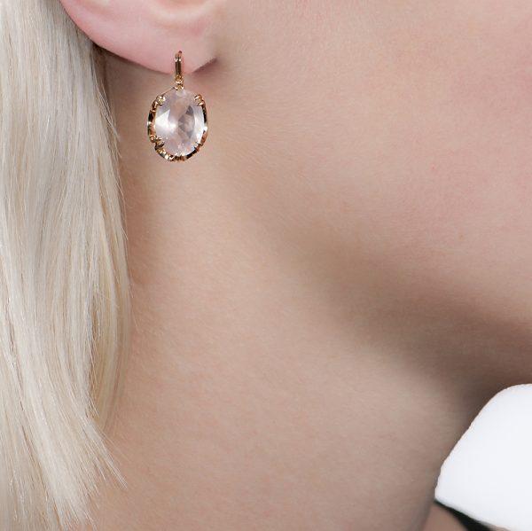 Yellow gold rose quartz drop earrings