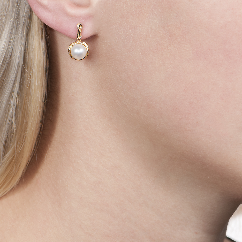 Yellow gold cultured freshwater pearl drop earrings