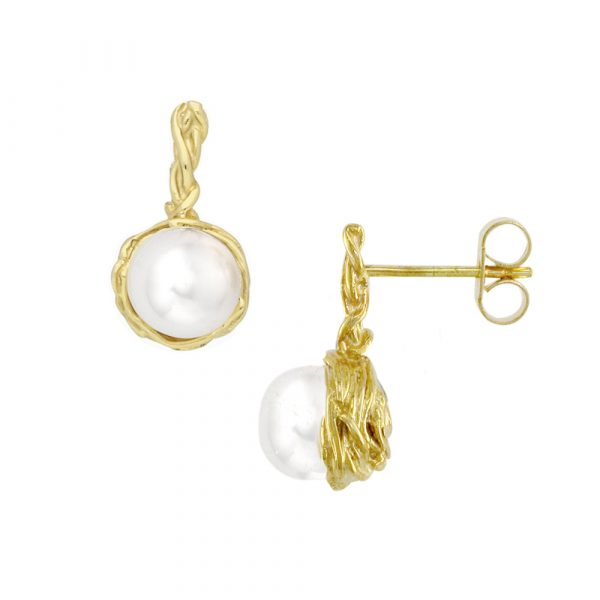 Yellow gold pearl drop Willow earrings