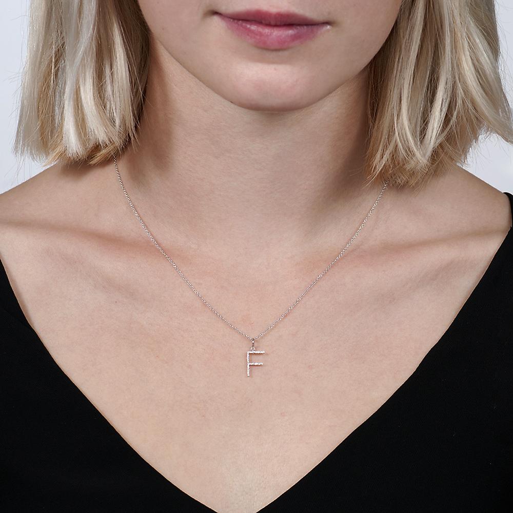 White gold diamond letter F pendant