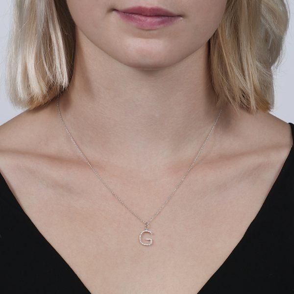 White gold diamond letter G pendant