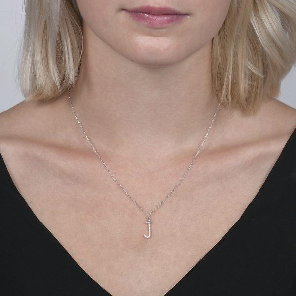 White gold diamond letter J pendant
