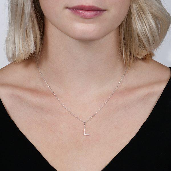White gold diamond letter L pendant