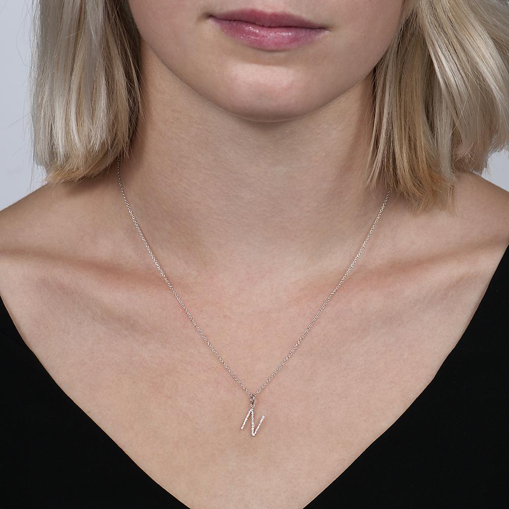 White gold diamond letter N pendant