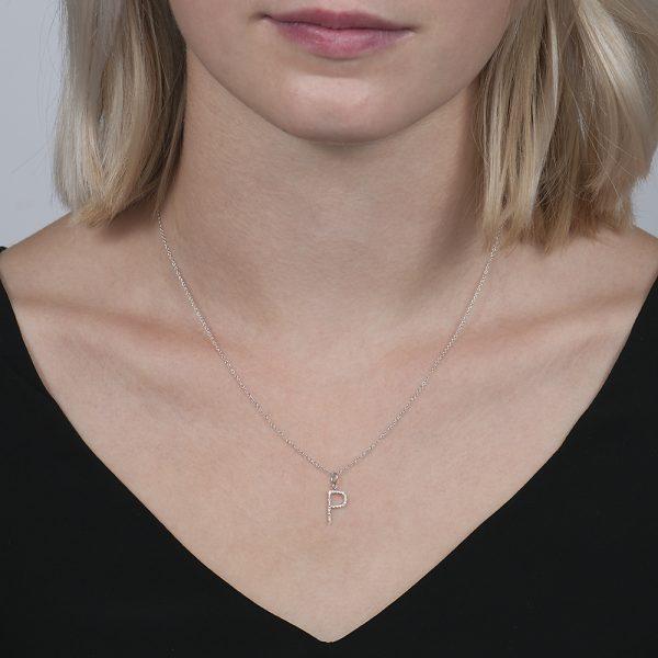 White gold diamond letter P pendant
