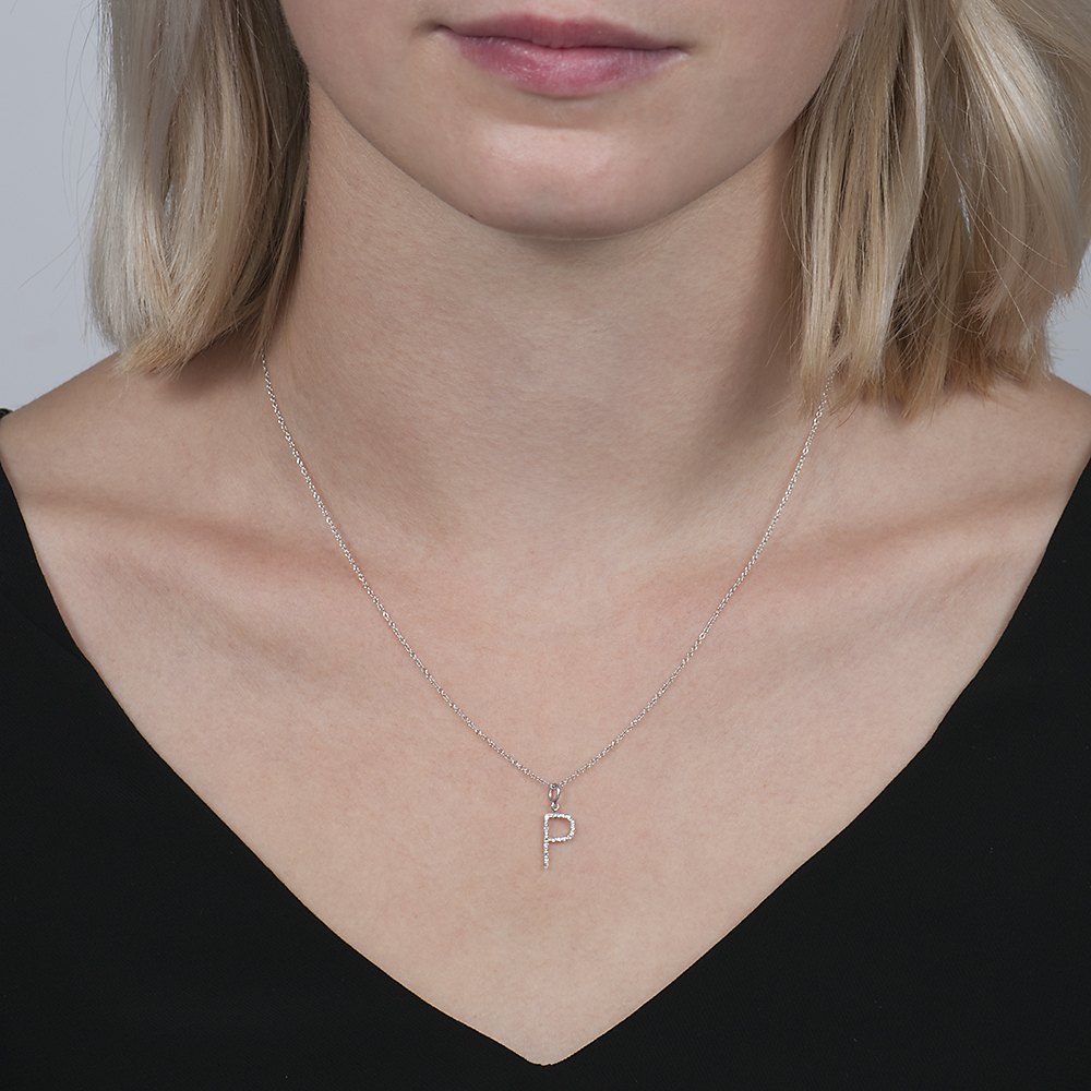 White gold diamond letter P pendant