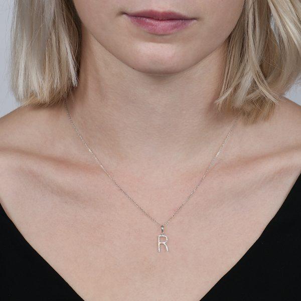 White gold diamond letter R pendant