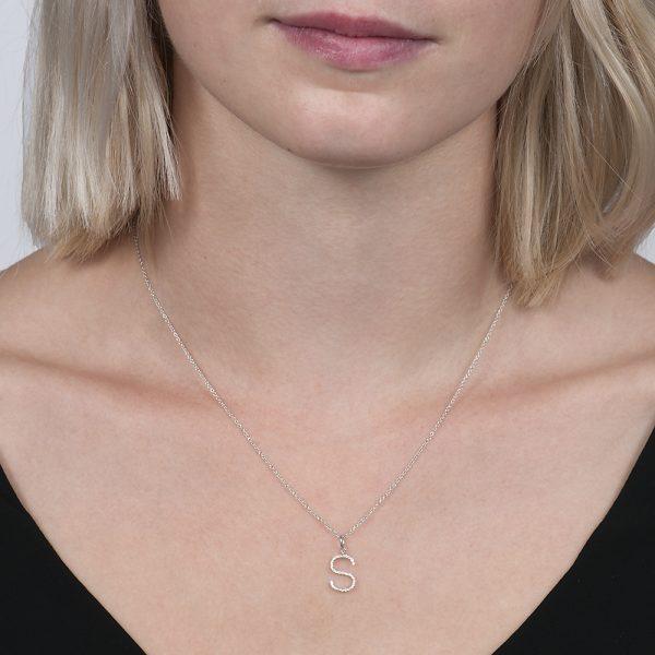 White gold diamond letter S pendant