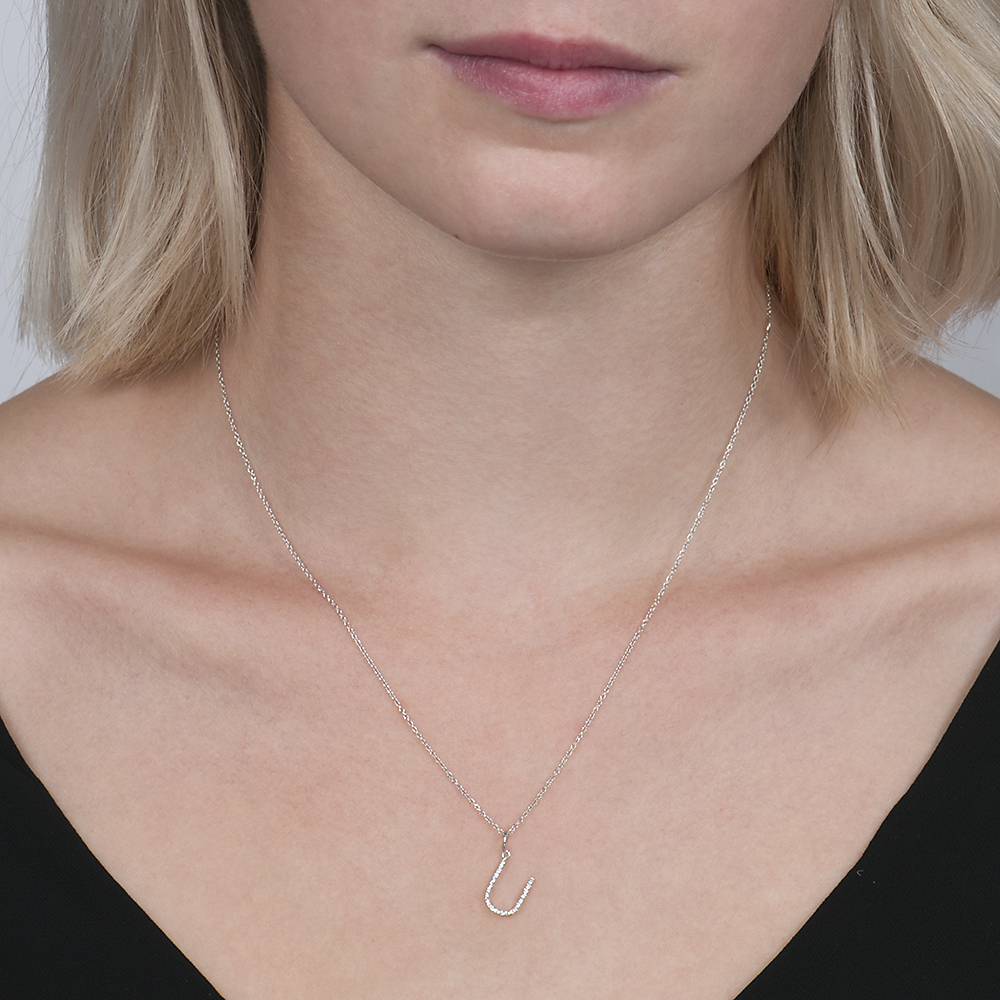 White gold diamond letter U pendant