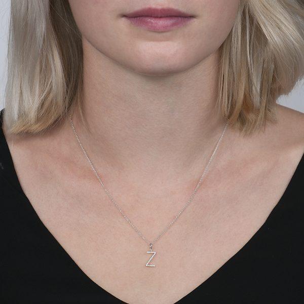 White gold diamond letter Z pendant