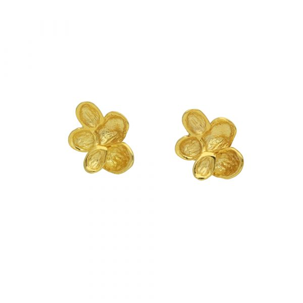 Yellow gold falling leaf earrings