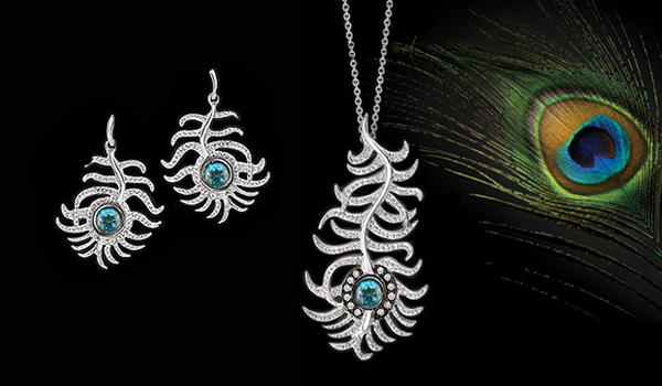 White gold diamond blue zircon Peacock pendant