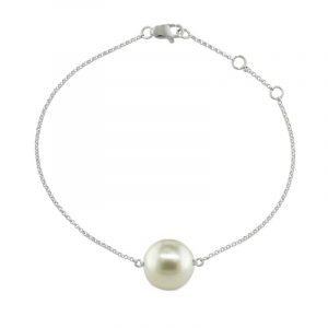 White gold cultured freshwater pearl single stone bracelet