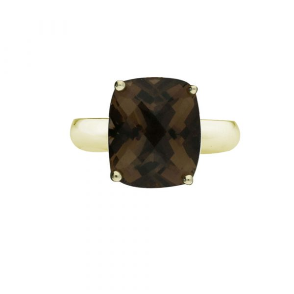 Yellow gold smoky quartz cushion ring