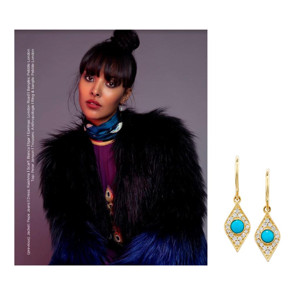 Yellow gold diamond turquoise evil eye drop earrings