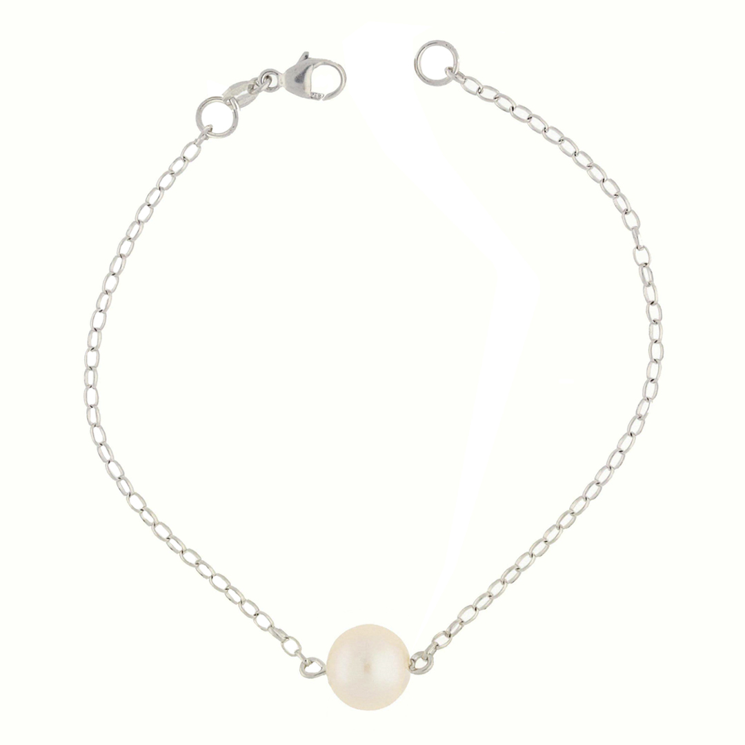 White gold pearl solitaire bracelet