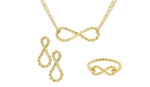 Yellow gold Carnaby infinty earrings, necklace and rings