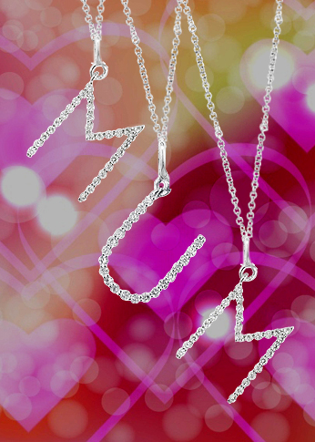 diamond letter pendants