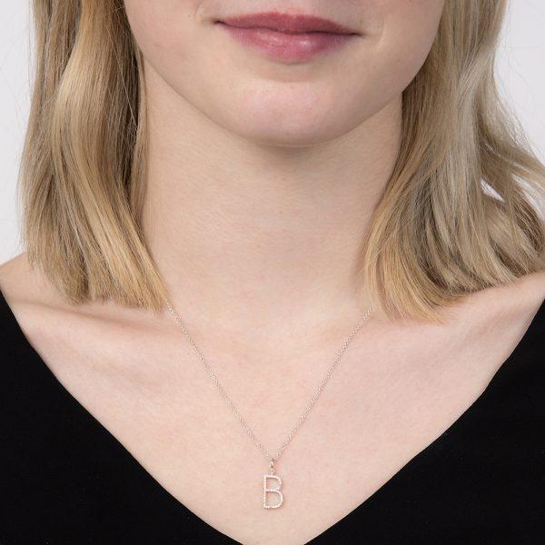 White gold diamond letter B pendant
