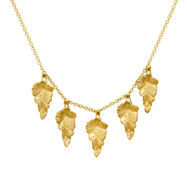 Yellow gold golden leaf necklace