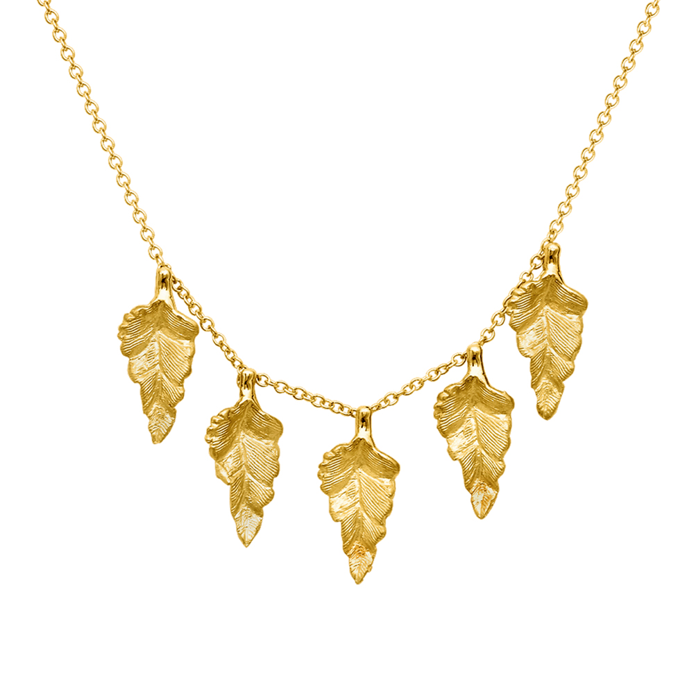 Modern Yellow Gold Kew Leaf Necklace