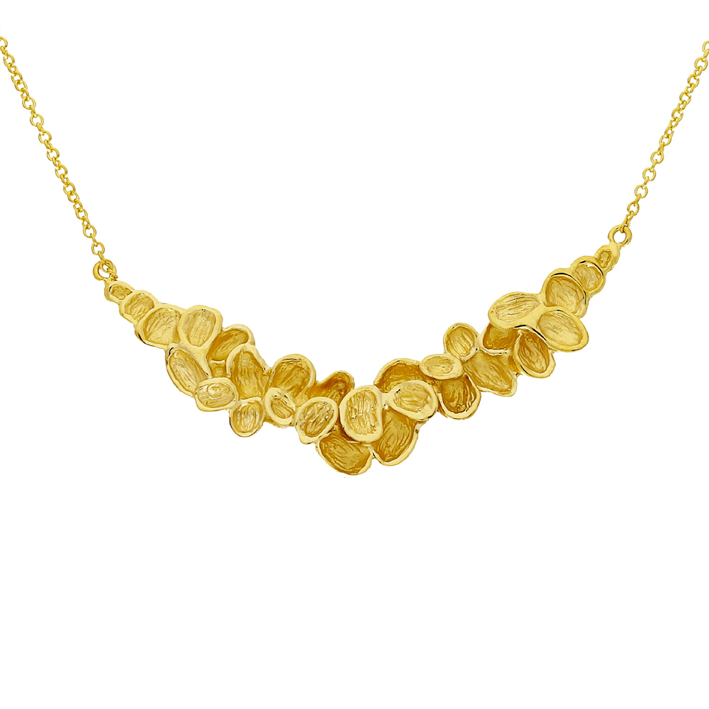 Yellow gold falling leaf necklace