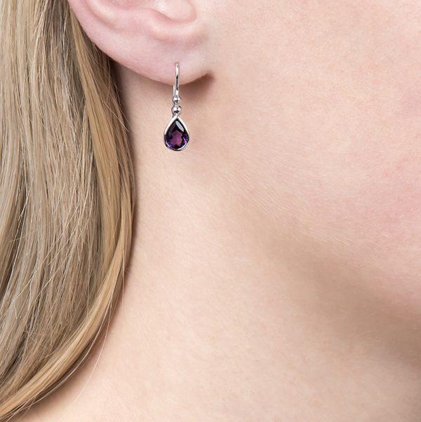 White gold amethyst earrings