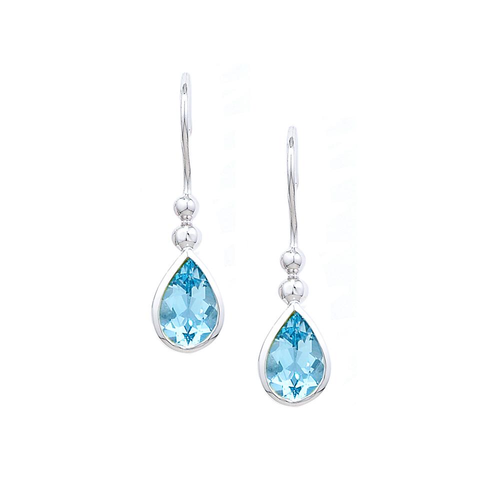 Designer White Gold Blue Topaz Bead Drop Earrings