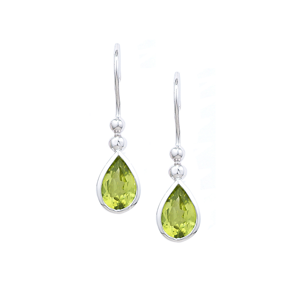 White gold peridot earrings