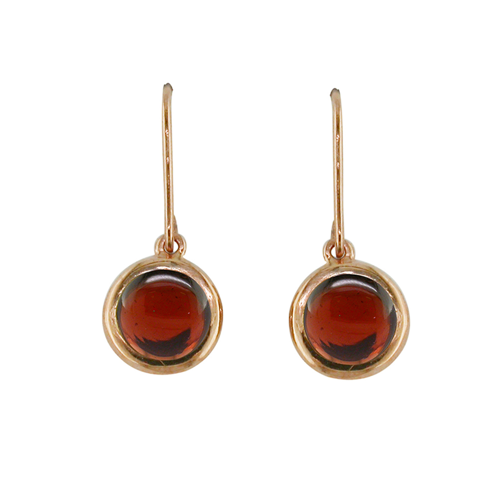 Classic Bubble Garnet Rose Gold Drop Earrings
