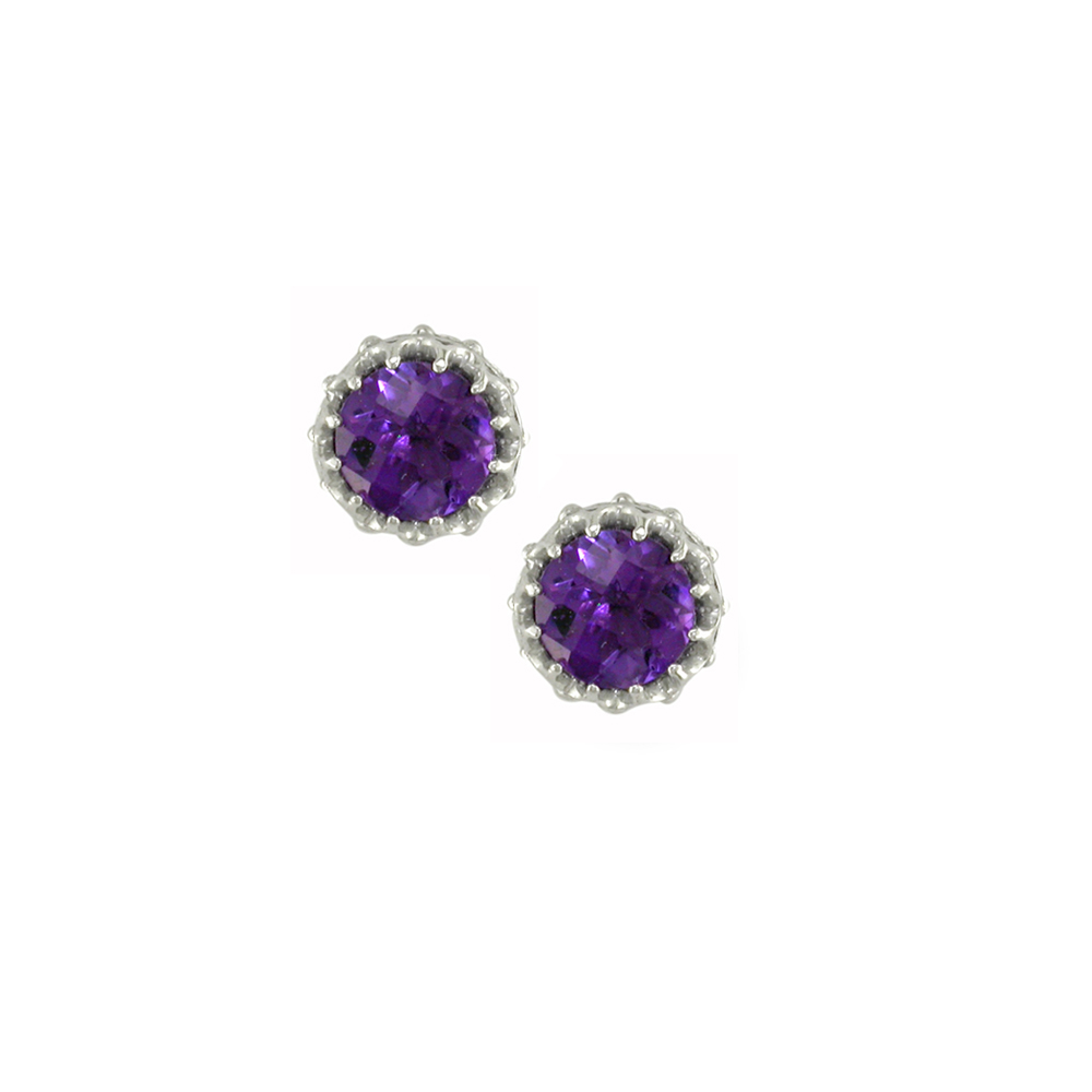 White Gold Amethyst Stud Earrings