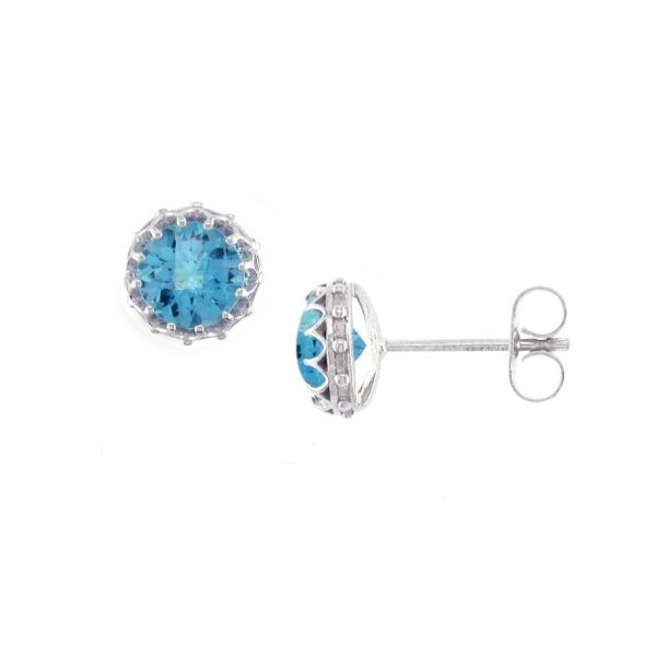 White gold blue topaz stud earrings